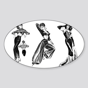 1950's Hollywood Fashions - Set #1 Sticker (Oval)