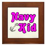 Navy Kid (pink) Framed Tile