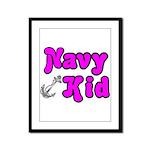 Navy Kid (pink)  Framed Panel Print