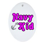 Navy Kid (pink) Oval Ornament