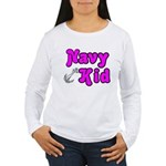 Navy Kid (pink) Women's Long Sleeve T-Shirt