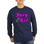 Navy Kid (pink) Long Sleeve Dark T-Shirt