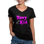 Navy Kid (pink) Women's V-Neck Dark T-Shirt