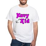 Navy Kid (pink) White T-Shirt
