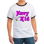 Navy Kid (pink) Ringer T