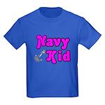 Navy Kid (pink) Kids Dark T-Shirt