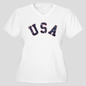 Vintage Team USA Women's Plus Size V-Neck T-Shirt
