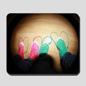 shoelace hearts Mousepad