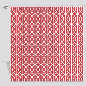 Cayenne Red Modern Pattern Shower Curtain
