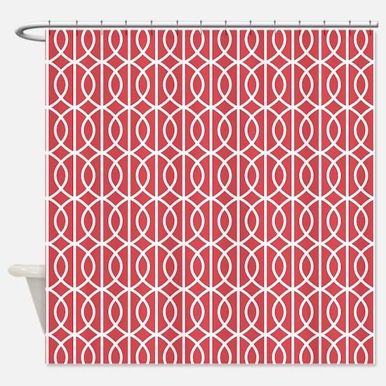 Cayenne Red Modern Pattern Shower Curtain