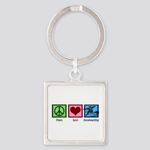 Peace Love Snowboarding Square Keychain