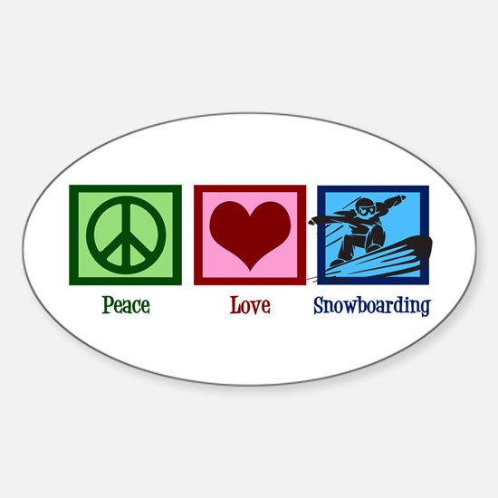 Peace Love Snowboarding Sticker (Oval)