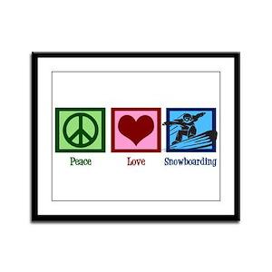 Peace Love Snowboarding Framed Panel Print