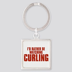 I'd Rather Be Watching Curling Square Keychain