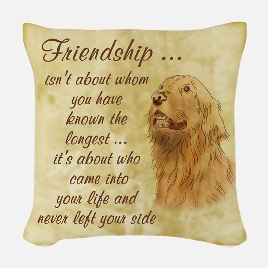 Friendship - Dog Woven Throw Pillow