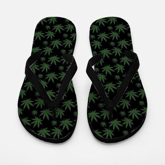 Cannabis Leaf Weed Pot Pattern Flip Flops