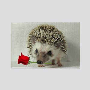 hedgehog with rose Rectangle Magnet