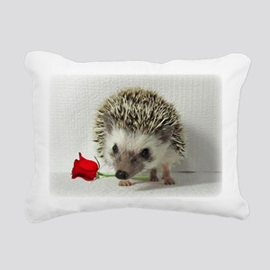 hedgehog with rose Rectangular Canvas Pillow