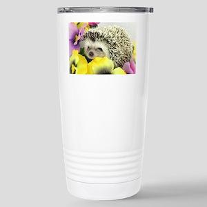 Hedgehog in flowers Stainless Steel Travel Mug