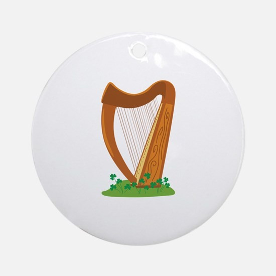 Celtic Harp Instrument Ornament (Round)