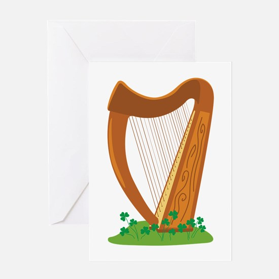 Celtic Harp Instrument Greeting Cards