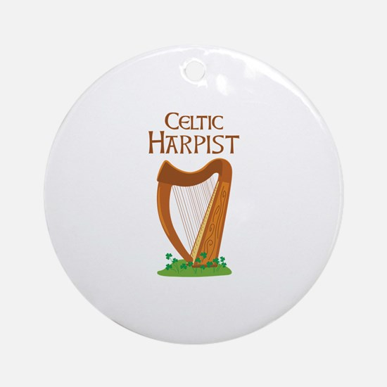 CELTIC HARPIST Ornament (Round)