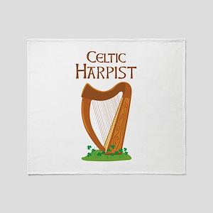 CELTIC HARPIST Throw Blanket