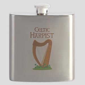 CELTIC HARPIST Flask
