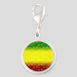 Rastafari Pot Leaf Silver Round Charm