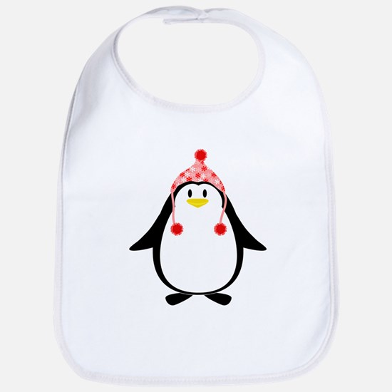 Penguin with Pink Knit Hat Bib
