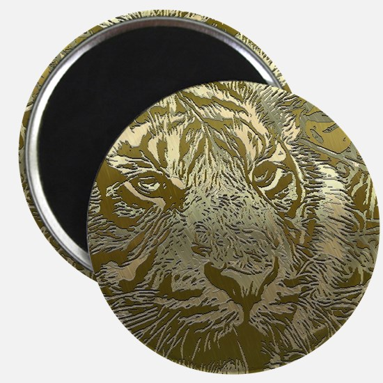 metal art tiger golden Magnets