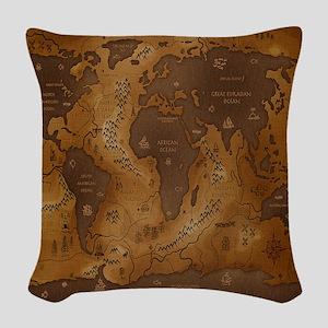World Map I Woven Throw Pillow