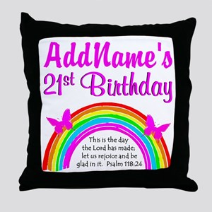 CELEBRATE 21 Throw Pillow