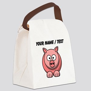 Custom Pink Pig Cartoon Canvas Lunch Bag