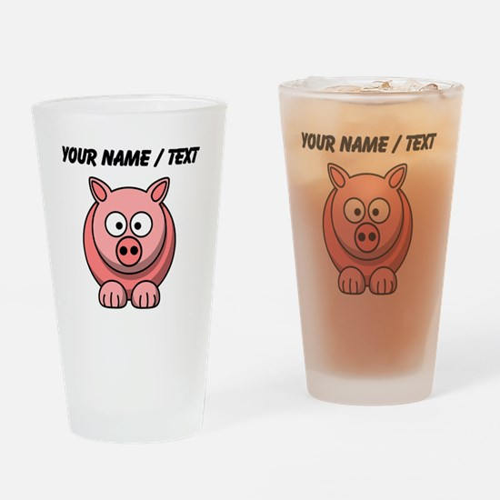 Custom Pink Pig Cartoon Drinking Glass
