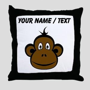 Custom Monkey Face Throw Pillow