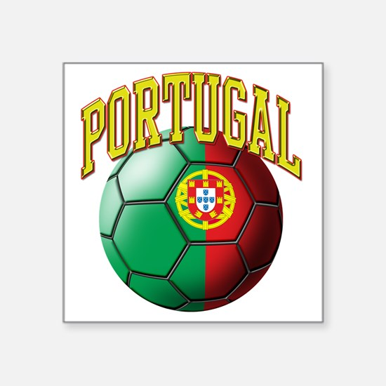 "Flag of Portugal Soccer Bal Square Sticker 3"" x 3"""