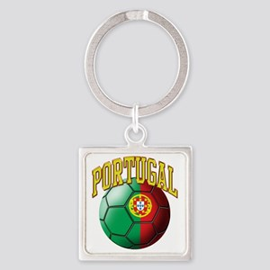 Flag of Portugal Soccer Ball Square Keychain
