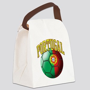 Flag of Portugal Soccer Ball Canvas Lunch Bag