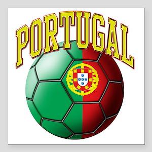 "Flag of Portugal Soccer  Square Car Magnet 3"" x 3"""