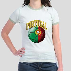 Flag of Portugal Soccer Ball Jr. Ringer T-Shirt