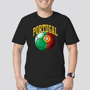 Flag of Portugal Socce Men's Fitted T-Shirt (dark)