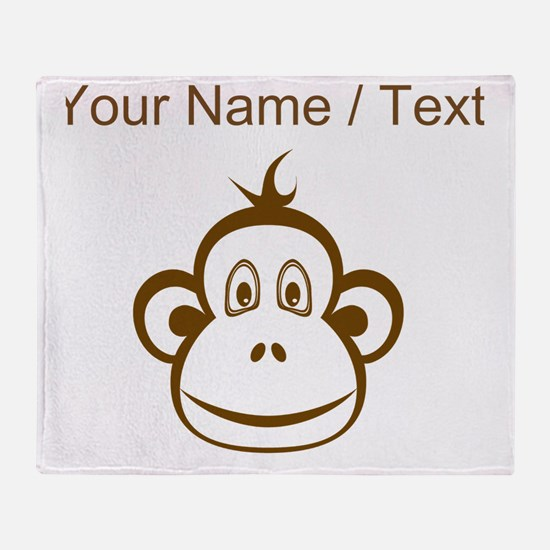 Custom Brown Monkey Face Throw Blanket