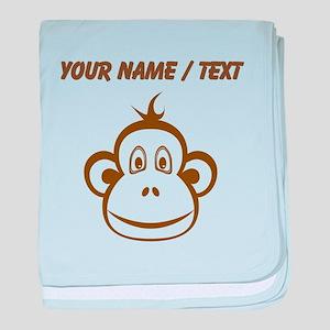 Custom Brown Monkey Face baby blanket