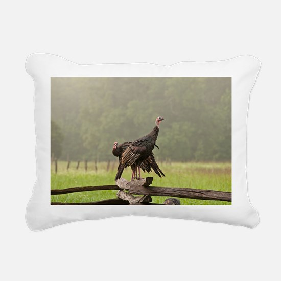 Wild Turkeys-Cades Cove Rectangular Canvas Pillow