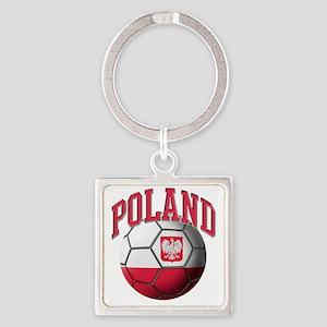 Flag of Poland Soccer Ball Square Keychain