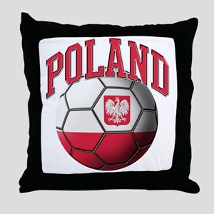 Flag of Poland Soccer Ball Throw Pillow