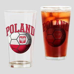 Flag of Poland Soccer Ball Drinking Glass