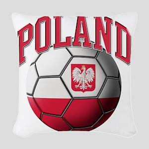 Flag of Poland Soccer Ball Woven Throw Pillow