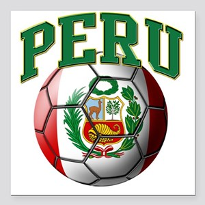"Flag of Peru Soccer Ball Square Car Magnet 3"" x 3"""